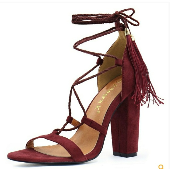 5b4aee4476f2f2 Allegra K Shoes - Women Chunky High Heel Tassel Closure Lace Up New